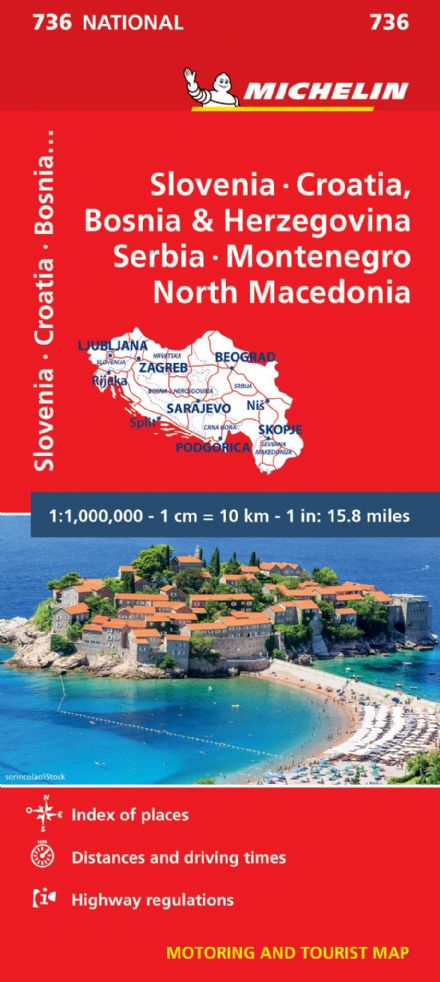 Slovenia, Croatia & Bosnia - Michelin National Map 736